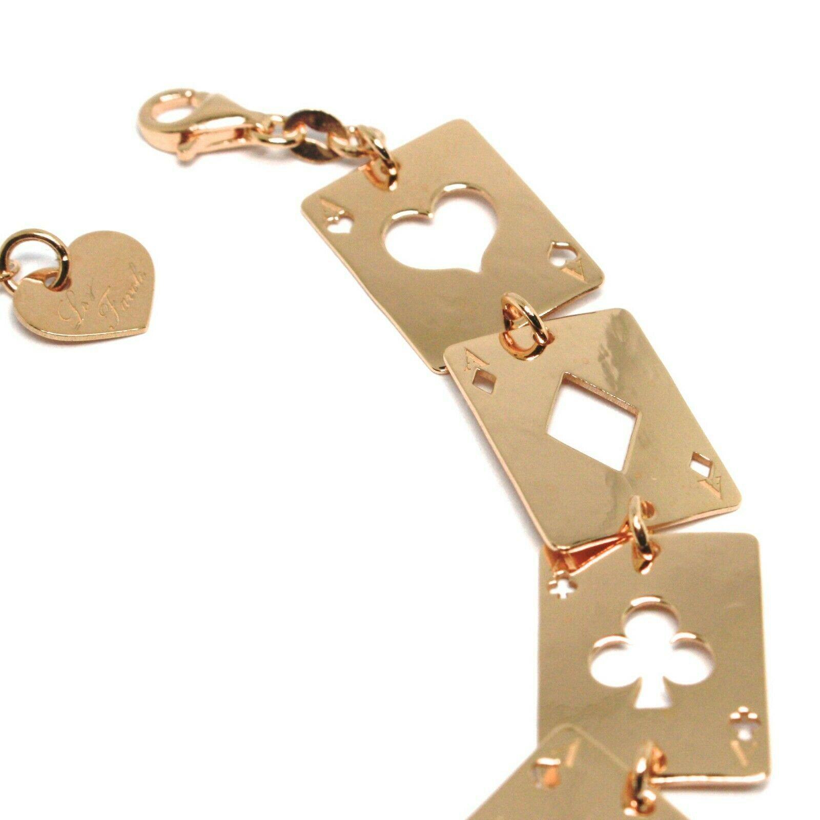 Bracelet en Argent 925,Jeu de Cartes,Fleurs,Carreaux,Cœurs,Pique ,le Favole