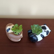 """Panda Animal Planter with Faux Succulent, Cement Pot and Artificial Plant, 4"""" image 4"""