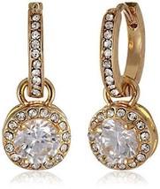 BETSEY JOHNSON Womens Cubic Zirconia Crystal Hoop Circle Drop Earrings  - $23.72