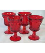 "Fostoria Jamestown Ruby 4 3/8"" Wine Goblet Glass set of 4 - $36.52"
