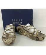 Stuart Weitzman Roccia Serpent Snake Leather Strappy Wedge Sandal Size 8.5 - $49.49