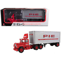 Mack R Model Day Cab P.I.E. With 28 Pop Trailer 1/64 Diecast Model by First Gear - $73.68