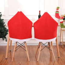 Santa Claus Christmas Chairs Cover Cap Non-woven Dinner Table Red Hat Chair - $12.00