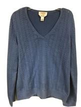 Talbots Womens MEDIUM Blue Pima Cotton V-Neck Long Sleeve Cable Knit Swe... - $15.83