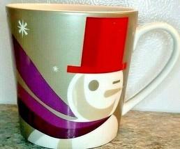 Starbucks Winking Snowman Christmas Coffee Mug Purple Gray Red 2011Large - $14.01