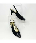 Bruno Magli Womens Black Canvas & Leather Slingback Heel, Size 8 Narrow - $34.60