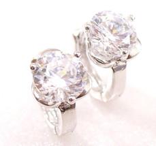 Women fashion Simulated Diamond White Gold Plated 6mm Flower Hoops Earrings UK - $11.79