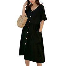 Maternity's Dress V Neck Short Sleeve Loose Solid Color Dress image 4