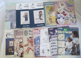 Lot Of 11 Cross Stitch Booklets Featuring Baby Bibs, Children, Toys, Bears - $12.50