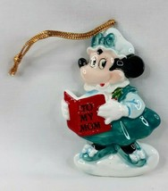 Minnie Mouse Reading To My Mom Porcelain Ornament Disney Green Red White... - $9.74
