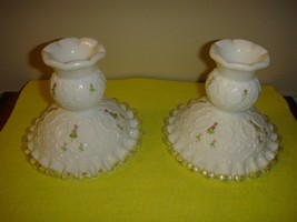 Fenton Glass Violets In Snow Spanish Lace Candlesticks - $29.99