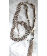 Silver Sparkle Long Handmade Necklace Fringe Da... - $15.00