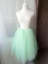 Mint Green Tulle Midi Skirt Ballerina Tulle Skirt Plus Size Knee Length image 5