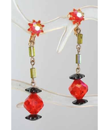 Fantastic Mod Black & Orange Iridescent Cut Glass Clip Earrings 1960s vi... - $14.80