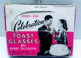Vintage Mid Century Orig Box Of 12 Cake Celebration Toast Glasses Maude ... - $19.79