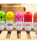 6 Pc Set Vitamin Pill Retractable Ballpoint Pens, Cute Kawaii Pen Set St... - $3.49