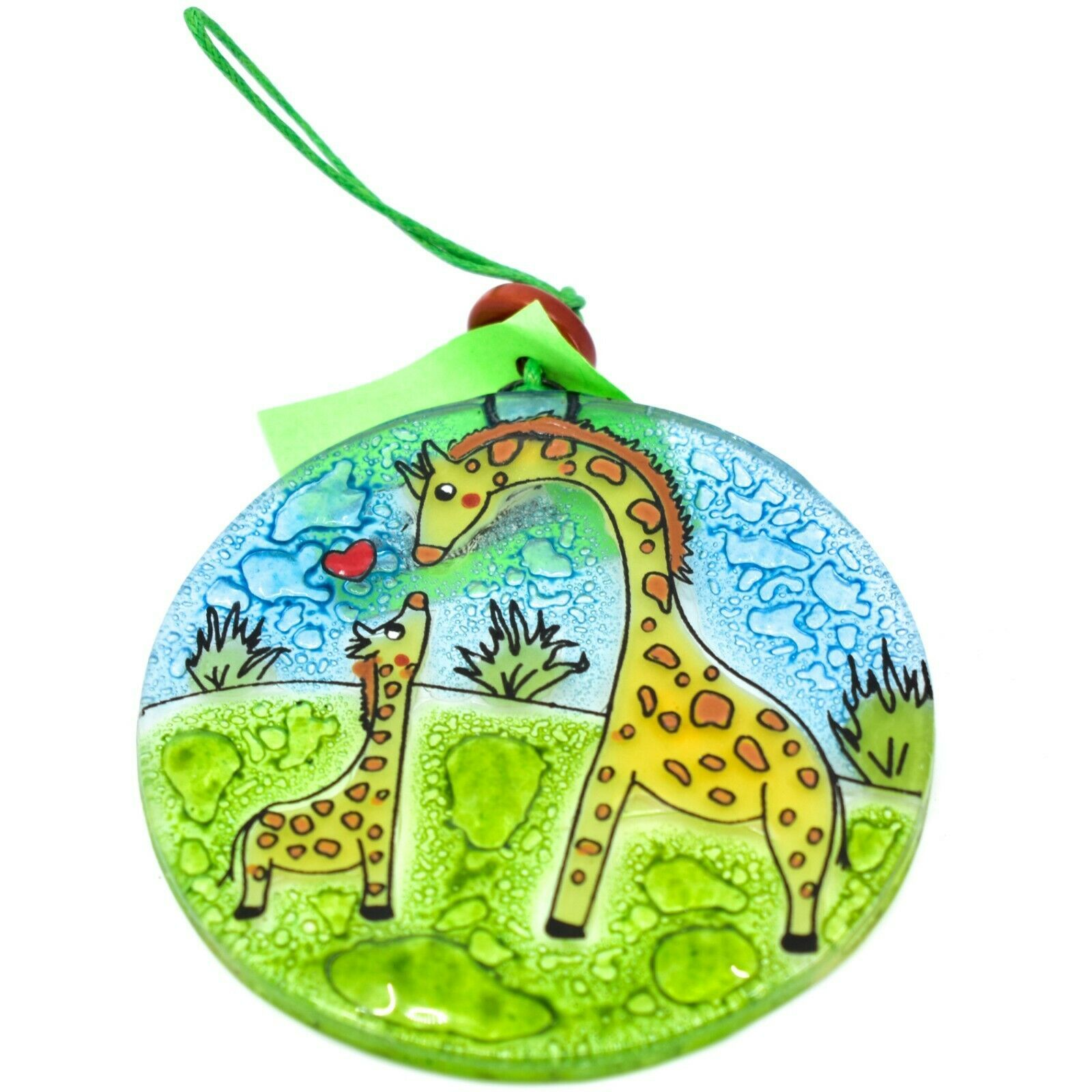 Fused Art Glass Giraffe Mom & Baby Family Ornament Handmade in Ecuador