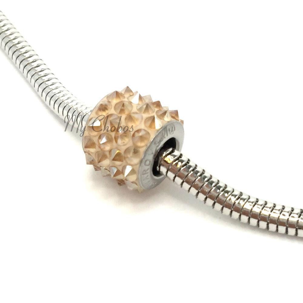 Swarovski European Fit Bracelet Charm Stainless BeCharmed Pave Spikes Crystal image 7