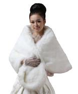 New Bridal Ivory Long Faux Fur Bolero Shawl Shrug One Size - $26.22