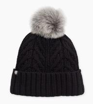 UGG Womens Textured Cuff Fur Pom Hat in Black [16219] - $96.22 CAD