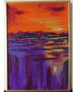 Hot Summer Night Original Acrylic Painting with Gold Metal frame Free Sh... - $37.00