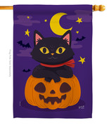 Halloween Kitty - Impressions Decorative House Flag H137297-BO - $40.97