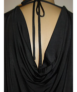 Ellen Tracy Black Slinky Blouse Tunic Top Drape Plunge V Back-S-$69.50-N... - $18.17