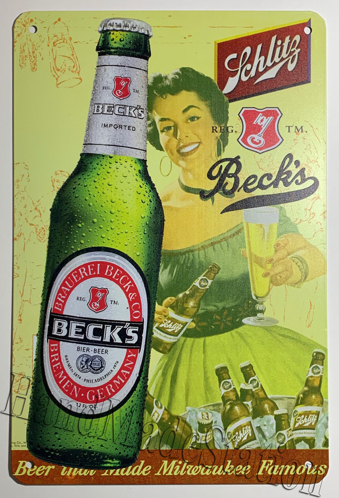 "Beck's Beer Bottle Logo Wall Metal Sign plate Home decor 11.75"" x 7.8"""