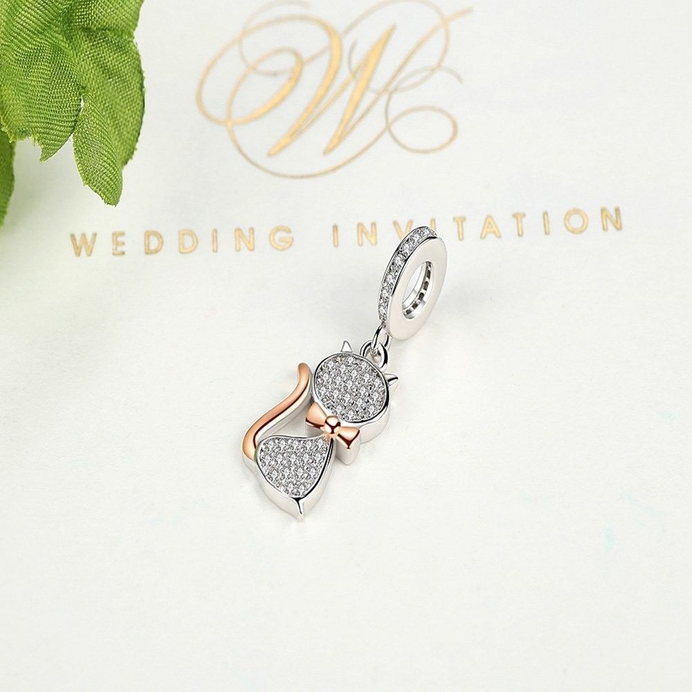 925 Sterling Silver with Pave Clear CZ Miss Kitty Pendant Drops Charms
