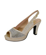 FLORAL Nadia Women Wide Width Rhinestone Studded Peep-Toe Platform Sling... - $69.95