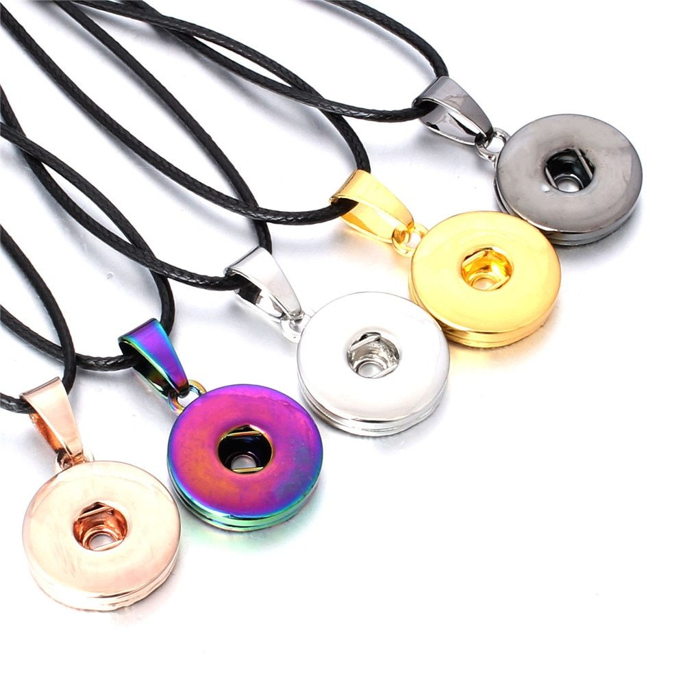 Fashion Jewelry Black Rose Gold Silver Gold Colorful Snap Pendant Necklace 18mm  - $9.60