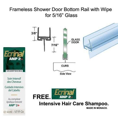 """Shower Door Polycarbonate Bottom Rail w/ Wipe - 5/16"""" Glass -32"""" long w. Shampoo - $14.80"""