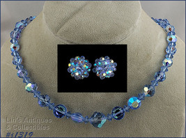 Blue and Blue Aurora Borealis Bead Necklace and Earrings (#J1319) - $30.00