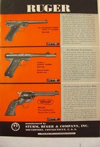 1954 RUGER Standard & Mark I Target Models Single Six Revolver Print Ad - $9.99