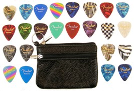 24 Piece Fender Guitar Pick Variety Pack and Guitar Pick and Slide Pouch... - $14.49