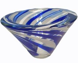 Mikasa Cobalt Blue White Rock Swirl 7 Inch Bowl Cone Shape Candy Dish Retro - $19.79