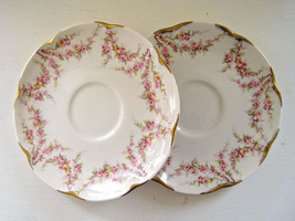 Vintage Theodore Haviland New York Varenne Saucer Pink Flower Swag Gold Gilt  - $10.99