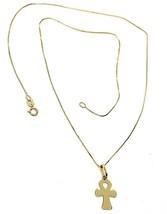 Necklace Yellow Gold 750 18K, cross of Life Ankh Pendant, Chain Venetian... - $193.72