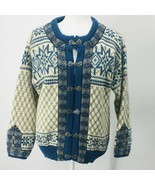 Dale of Norway Pure Wool Blue White Cardigan With Patch Star Snowflake Ski - $116.10