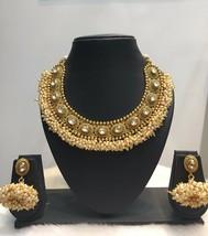 Indian Gold Plated CZ Kundan Fashion Jewelry Necklace Set Bollywood CZ - $45.53
