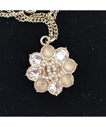 100% AUTH CHANEL CC LOGO CAMELLIA FLOWER GOLD PENDANT NECKLACE RARE - $599.99
