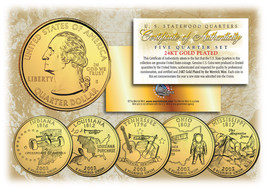 2002 US Statehood Quarters 24K GOLD PLATED ** 5-Coin Complete Set ** w/C... - $9.85