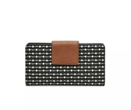 Fossil Emma Black And White Polka Dot Tab Clutch Wallet - $44.55