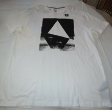 Uomo Volcom T-Shirt Maniche Corte Moderno Fit XL Mano Geo S/S Tee Bianco - $18.70
