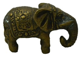 Elephant Sculpture Bronze Vintage Old Collectible Home Decorative - $115.90