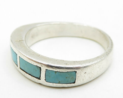 POST BELL TRADING 925 Silver - Vintage Inlay 4-Bar Turquoise Ring Sz 6 - R5963