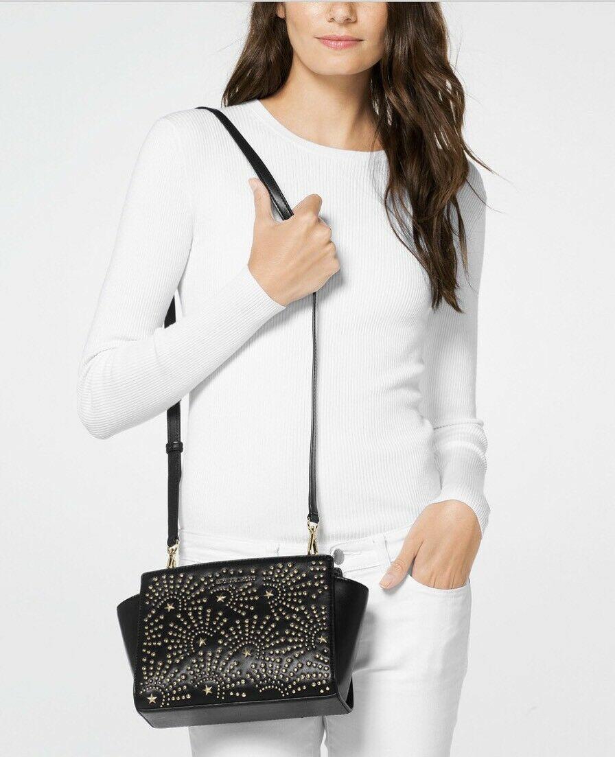 cc2515e3f59896 NWT MICHAEL Michael Kors Selma Stud Firework Medium Leather Messenger Bag  Black