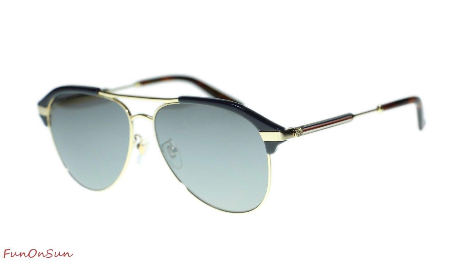 a36f936db28d9 10. 10. Previous. NEW Gucci Men s Sunglasses GG0288SA 005 Blue Gold Silver  Mirror Lens Pilot 60mm