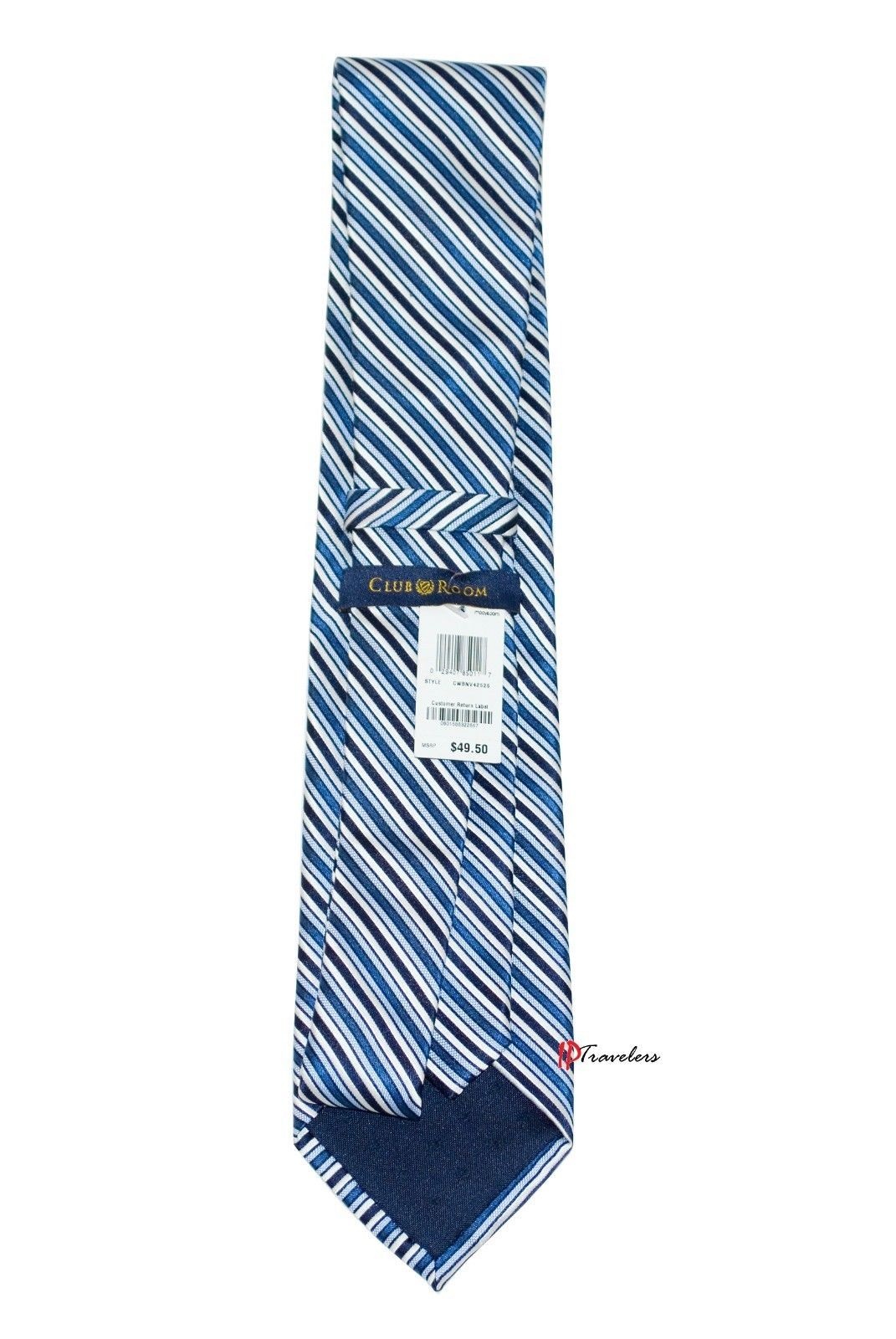 Club Room Estate Men's Neck Tie Blue and White Stripes 100% Silk $49.50