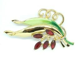 CORO Signed 1940s Green Enamel Red Rhinestone Leaf Flower Brooch Large V... - $148.49